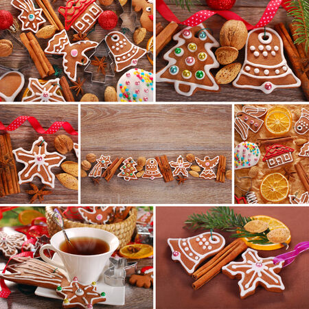 christmas collage of homemade gingerbread cookies decorated with icing in rustic style photo