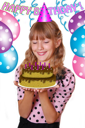 torte: beautiful young girl holding birthday cake with candles isolated on white
