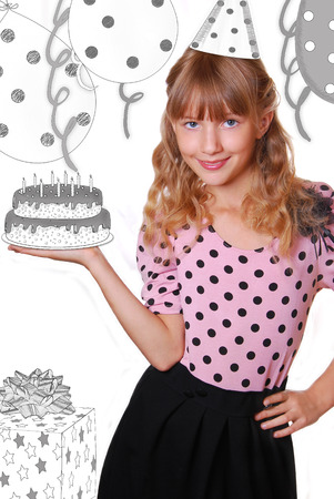 beautiful young girl holding hand drawn in black and white birthday cake with candles isolated on white
