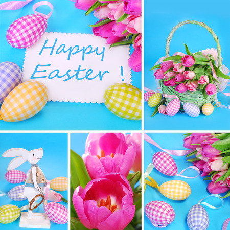 easter collage with eggs ,basket ,decorations and fresh tulips in pastel colors photo