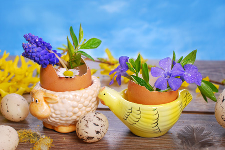 egg shells with  spring flowers in ceramic stands on wooden background for easter photo
