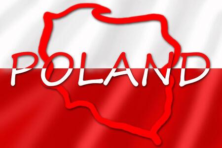 bandera de polonia: inscripción en blanco y rojo y el contorno de Polonia en la bandera