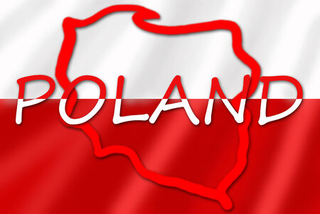 baltic: white and red inscription and contour of Poland on flag Stock Photo