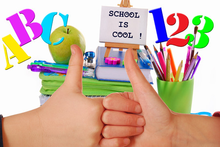 school things: back to school concept with thumbs up like kids hands symbol and school staffs Stock Photo