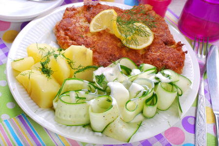 breaded pork chop: delicious dinner with fried pork chop,potato and fresh cucumber salad