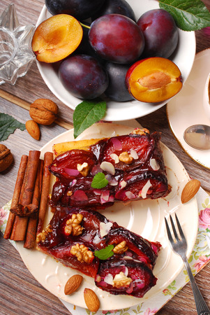 piece of homemade plum cake with nuts and spices and fresh fruits-top view photo