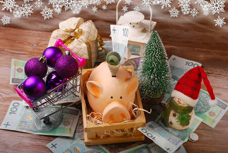 piggy bank,money,shopping cart with baubles and christmas decorations on wooden background photo