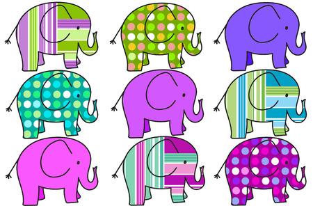 background with nine colorful elephants isolated on white photo