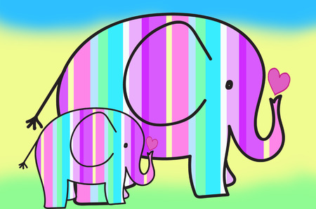 beautiful pastel colors two elephants with stripes pattern on colorful background photo