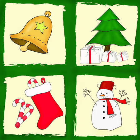christmas card with four different pictures of holidays symbols photo
