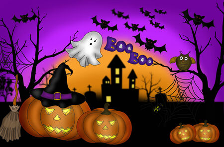 illustration of halloween scary night background with pumpkin lanterns and ghost illustration