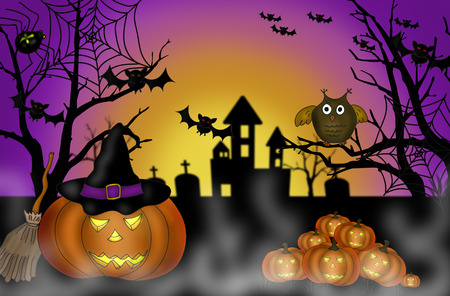 scary pumpkin: illustration of halloween scary night background with pumpkin lanterns ,bats and owl