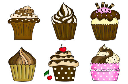 cupcakes isolated: illustration of six cupcakes collection isolated on white