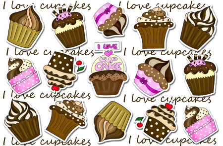 cupcakes isolated: illustration of cupcakes stickers collection background isolated on white Stock Photo