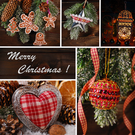 christmas collage with beautiful decorations hanging on wooden background photo