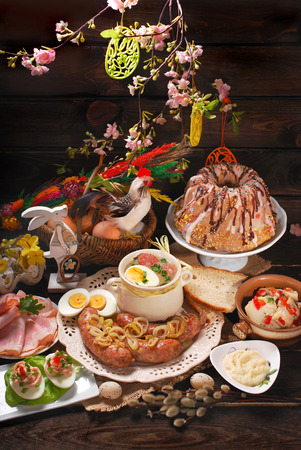 easter traditional polish dishes on rural wooden table Stock Photo