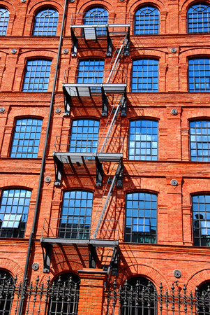rebuilt: old brick factory building in Manufactura rebuilt as a hotel in Lodz,Poland