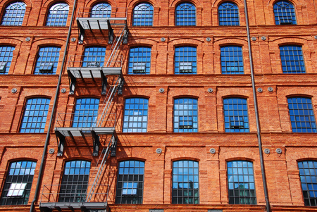 brick building: old historic brick factory building in Lodz revitalized as hotel