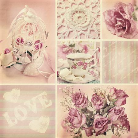 Collage romántico con rosas en estilo vintage Foto de archivo - 42213718