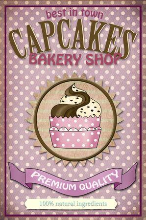 stracciatella: vintage poster design with stracciatella and chocolate cupcake and texts Stock Photo