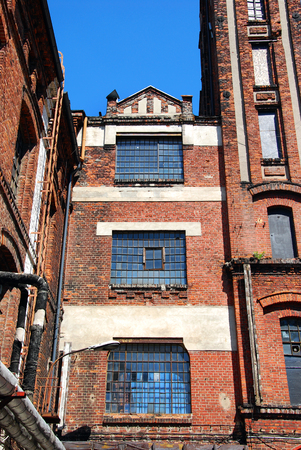 old street: old textile factory building on Piotrkowska OFF hipster place in Lodz, Poland
