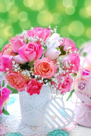 romantic pink rose bouquet for wedding in summer garden