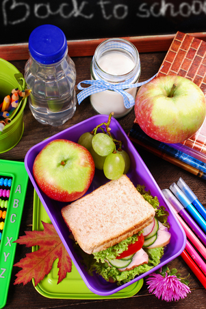 text box: healthy breakfast for school  with sandwich ,fresh fruits and drink in lunch box