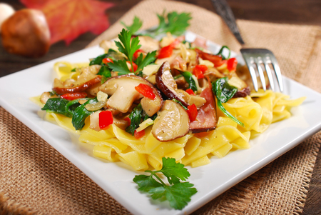 baby spinach: tagliatelle with  porcini mushrooms,baby spinach,bacon and cheese