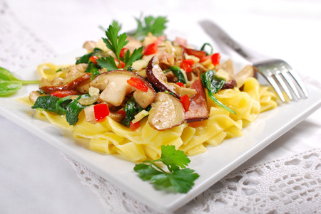 boletus: tagliatelle with  porcini mushrooms,baby spinach,bacon and cheese