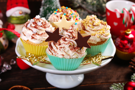 christmas cupcakes: homemade christmas cupcakes with  sprinkles decoration and chocolate stars Stock Photo