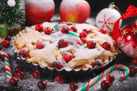 apple christmas: homemade apple pie with cranberry in winter scenery with powder sugar