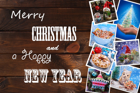 text year: wooden background with christmas colorful images collection and  greetings written with various fonts Stock Photo
