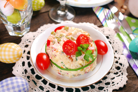 vegetable and ham salad with mayonnaise for easter