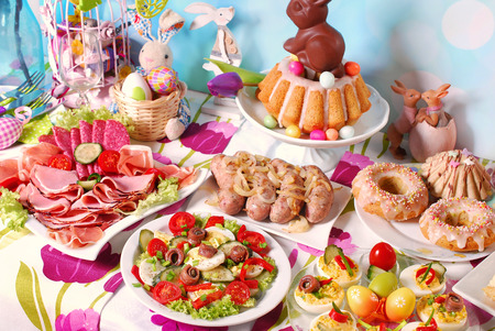 assortment: traditional in Poland easter breakfast on festive table