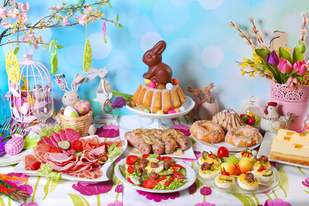 ham: traditional in Poland easter breakfast on festive table