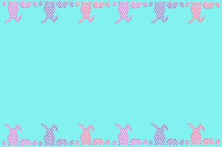 ditch: easter border with row of dots pattern eggs and rabbits on the top and bottom of background in pastel colors