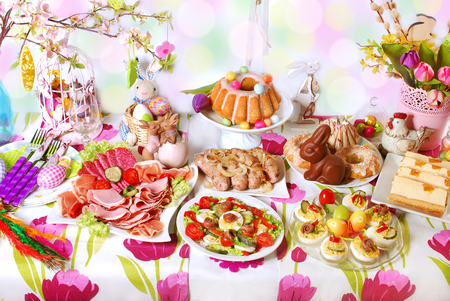 easter table with dishes for traditional in Poland festive breakfast