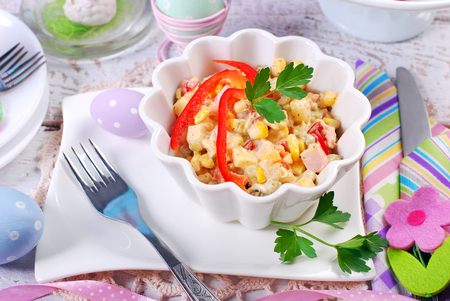 breakfast bowl: ham and vegetable salad with mayonnaise in bowl for easter