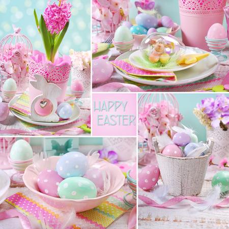 colores pastel: Collage de Pascua con bellas decoraciones de mesa de fiesta en colores pastel