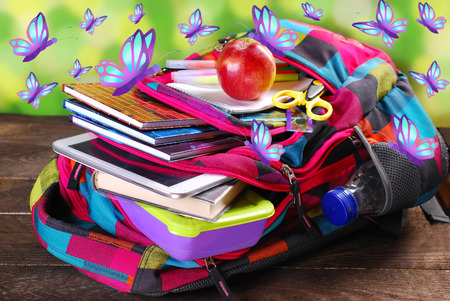 summer holidays: colorful backpack with various school equipment and flying butterflies as summer holidays concept Stock Photo