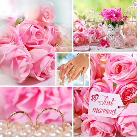 anillos boda: Collage romántico acaba de casarse con rosas y anillos de bodas de oro
