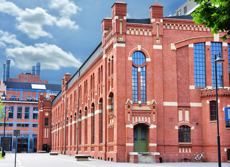 revitalization: beautiful old brick buildings of CHP in Lodz, Poland after revitalization