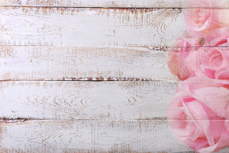 chabby: white wooden background with pink rose pattern border on one side and space for own text