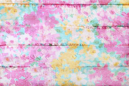 chabby: colorful wooden background with painted floral pattern