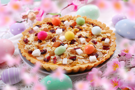 traditional polish easter butterscotch cake called mazurek with caramel layer,nuts and dried fruits Banque d'images