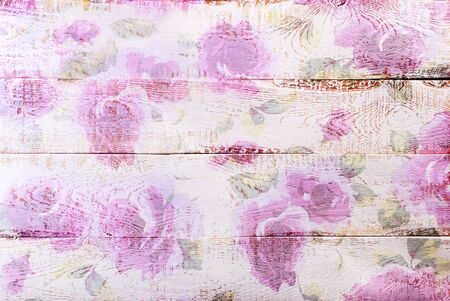 chabby: white wooden background with painted pastel color floral pattern Stock Photo