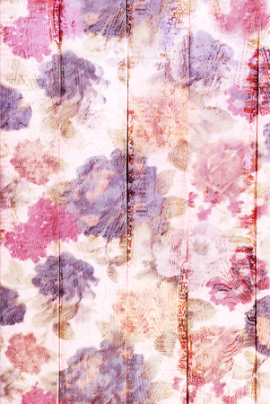 chabby: white wooden background with painted colorful floral pattern