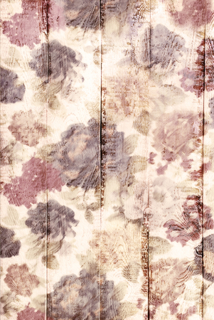chabby: white wooden background with painted vintage floral pattern