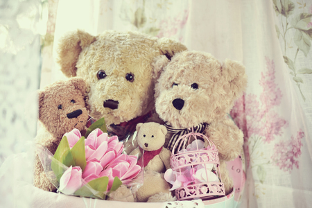Vintage style teddy bear family sitting inside round box Stock Photo
