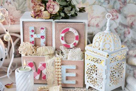 shabby chic style home decoration with small drawer,old lace trims  and lantern